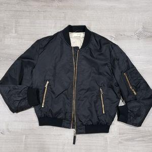 ZARA basic outerwear black bomber jacket